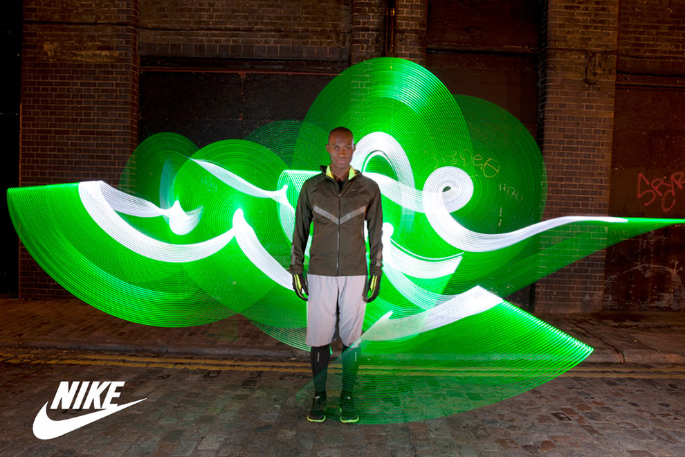 Advertising Photographer Photography Birmingham and London my Nike advert Nike Light Painting