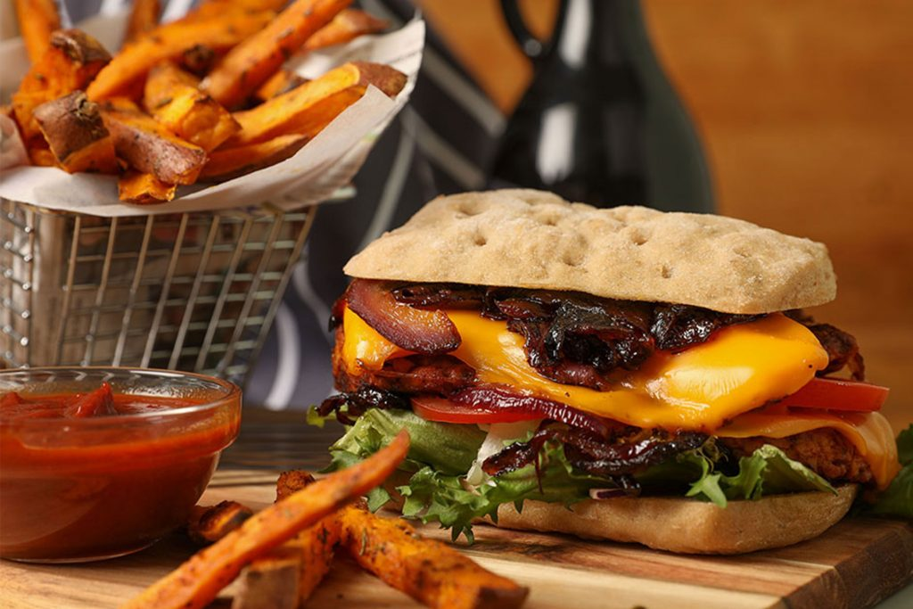 Photo of a vegan Burger Holland and Barett burger Food Photographer in Birmingham by Peter Medlicott